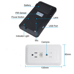 Wi-Fi Wall Socket with Hidden Motion Detection Camera