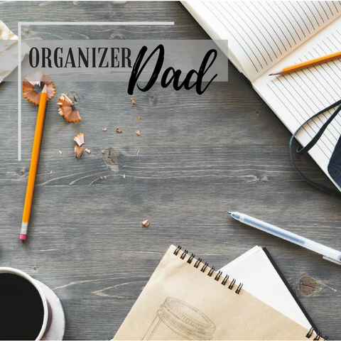 organiser dad image desk with pencil shavings