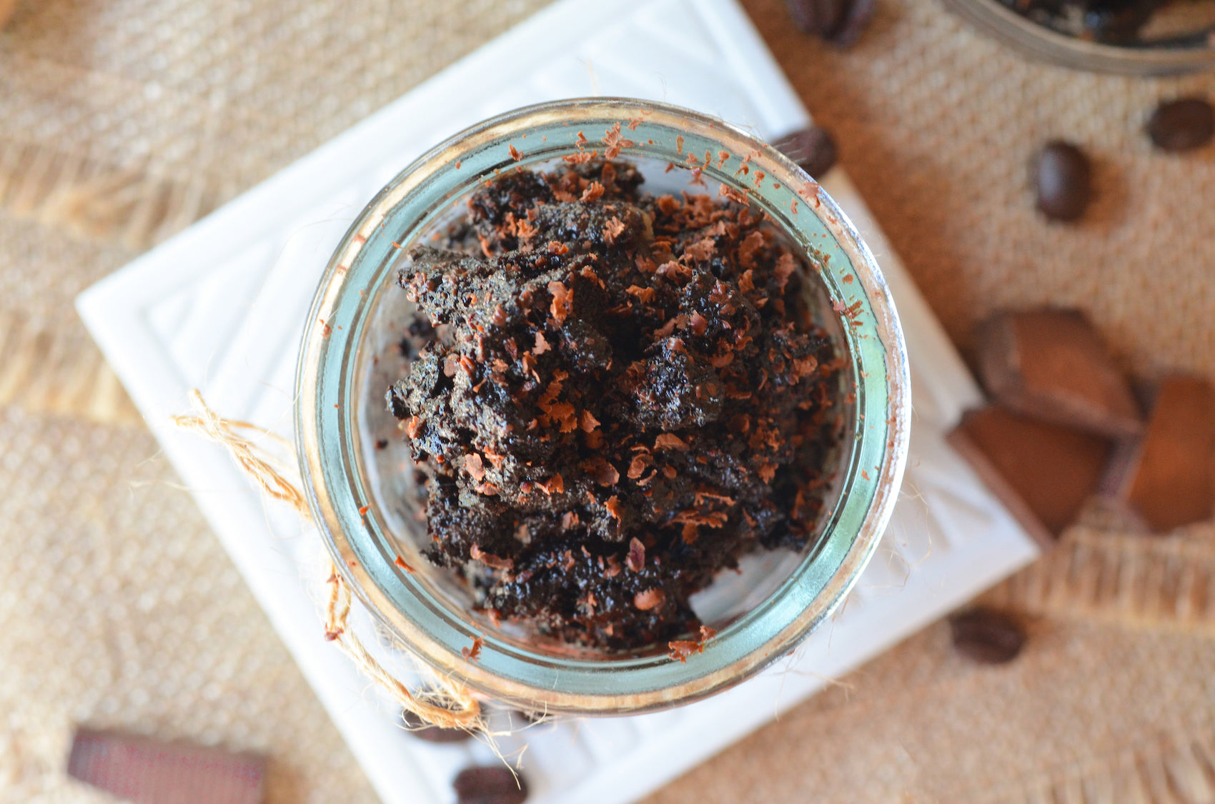 banana coffee chocolate scrub