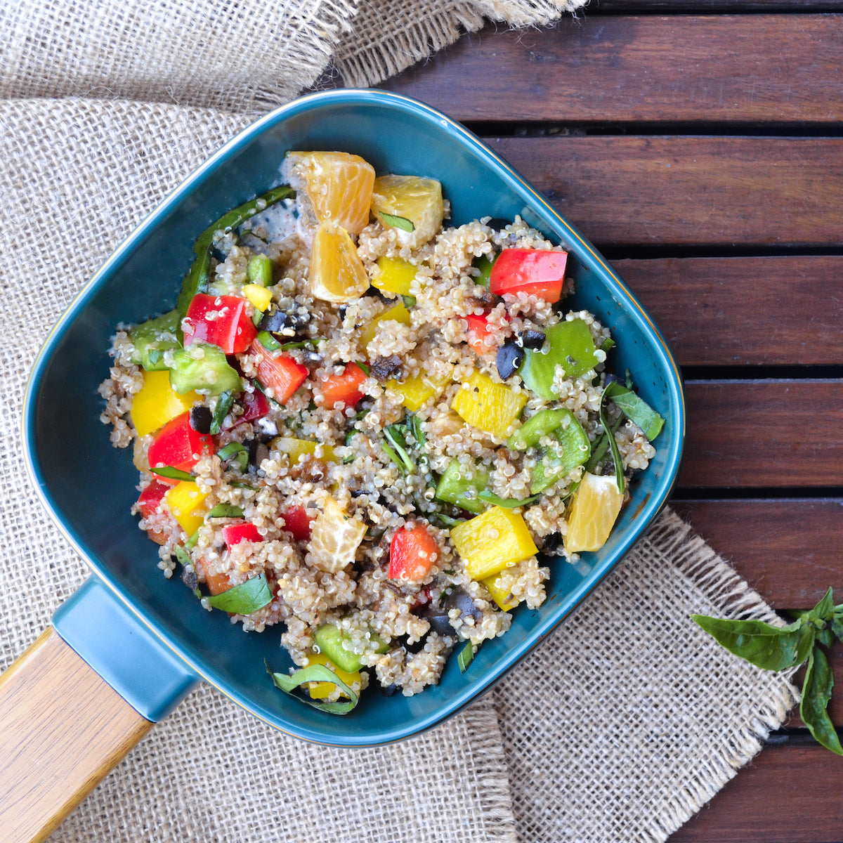quinoa salad bowl in cara bowl