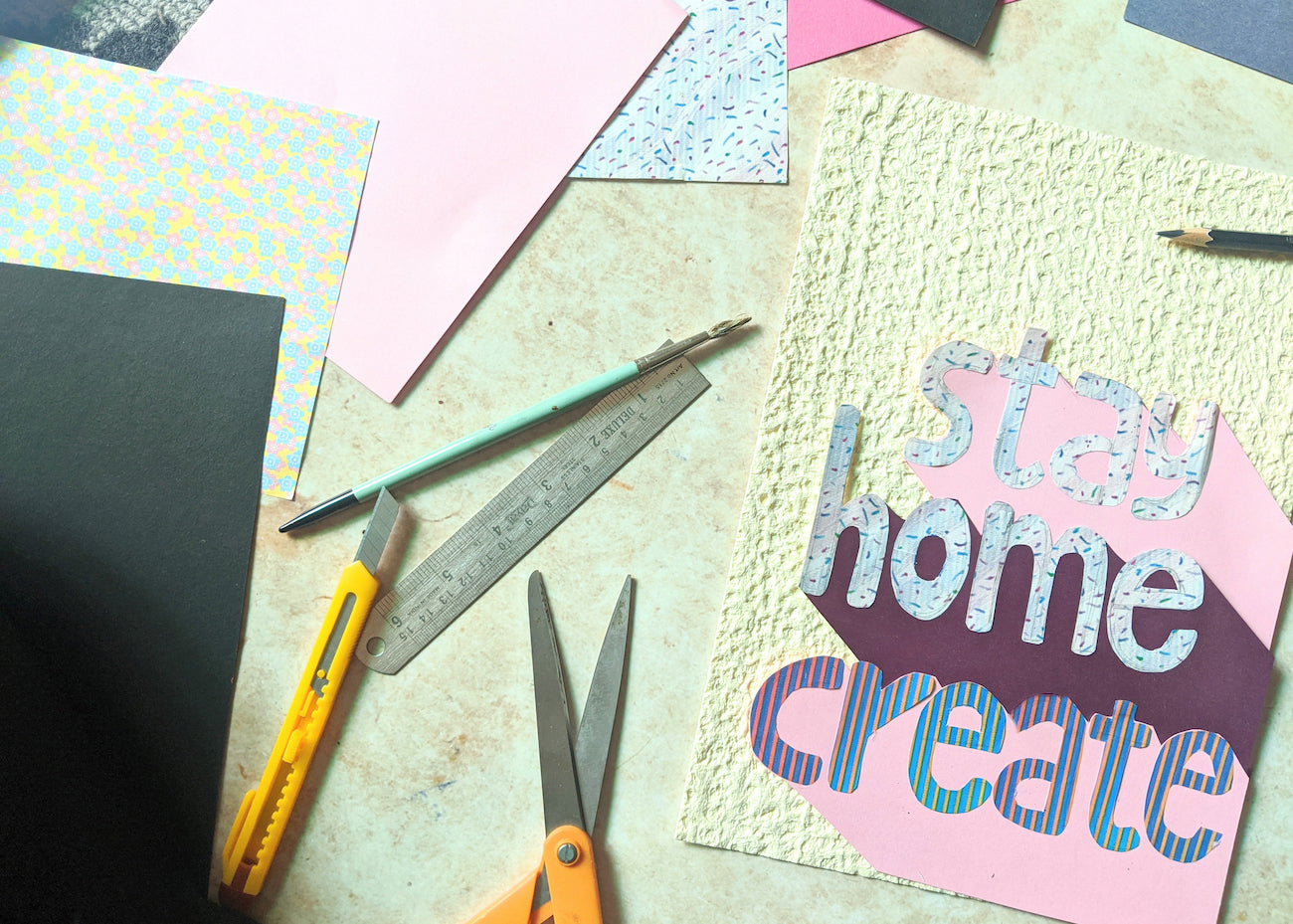 Stay Home and Create letter art