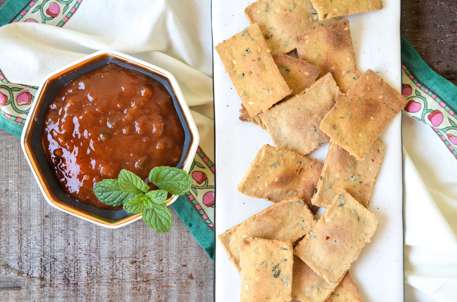 methi crackers with salsa