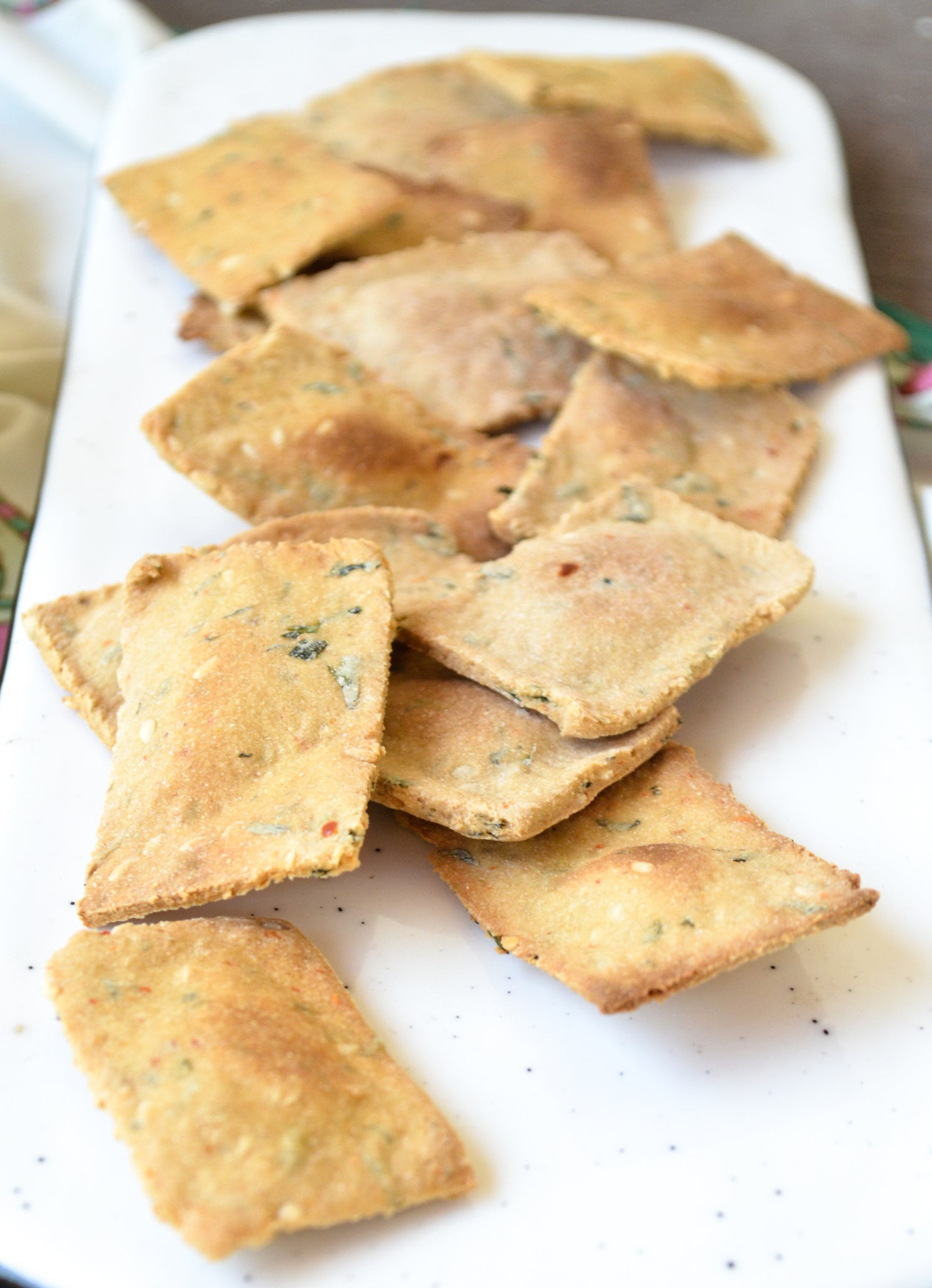 Homemade Methi garlic crackers