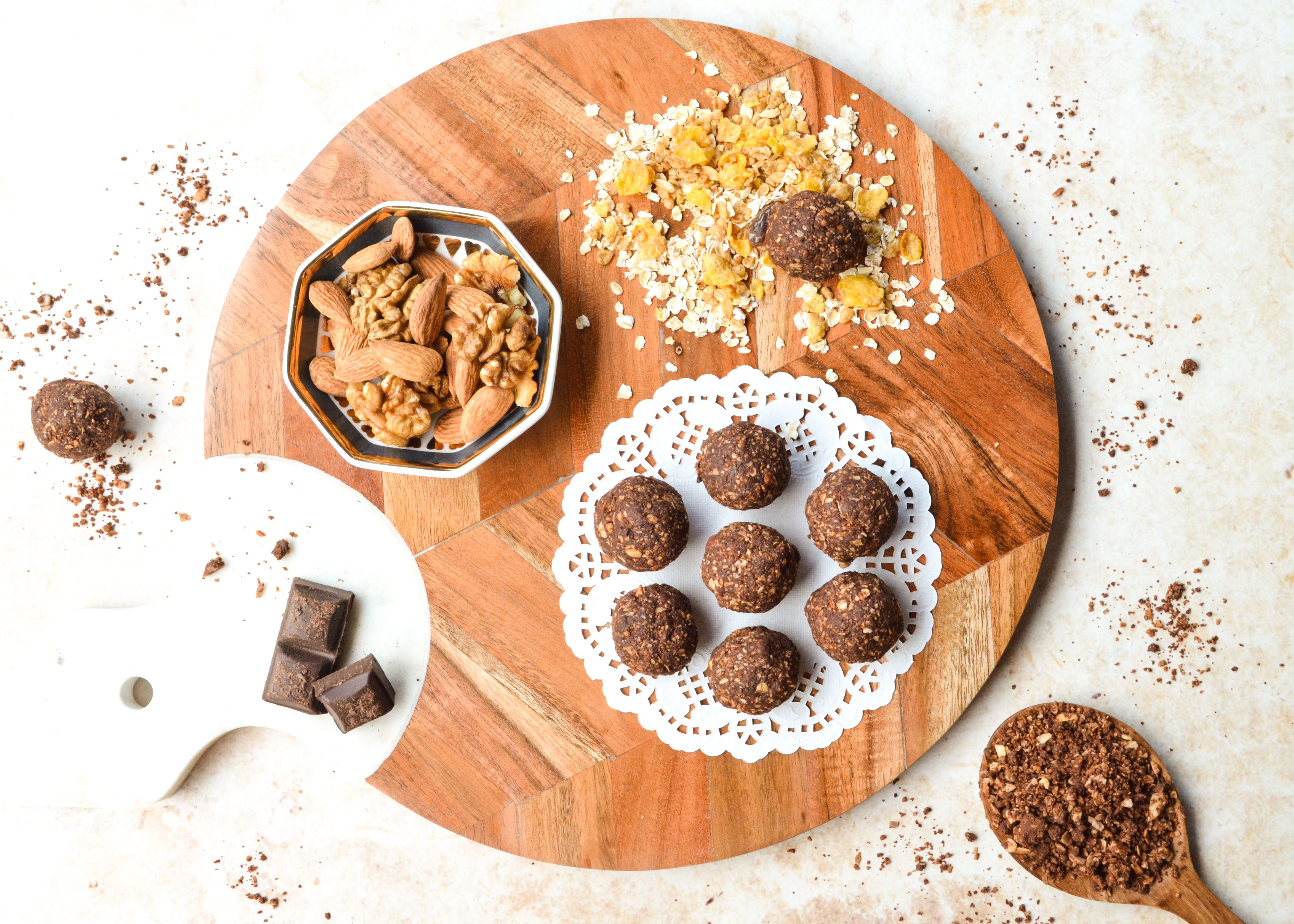 No bake  dark chocolate bites on Triton Herringbone Wooden & Marble Cheese Board Platter - White Brown
