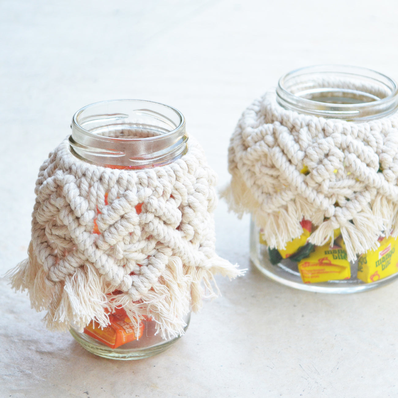 candy jar with macrame
