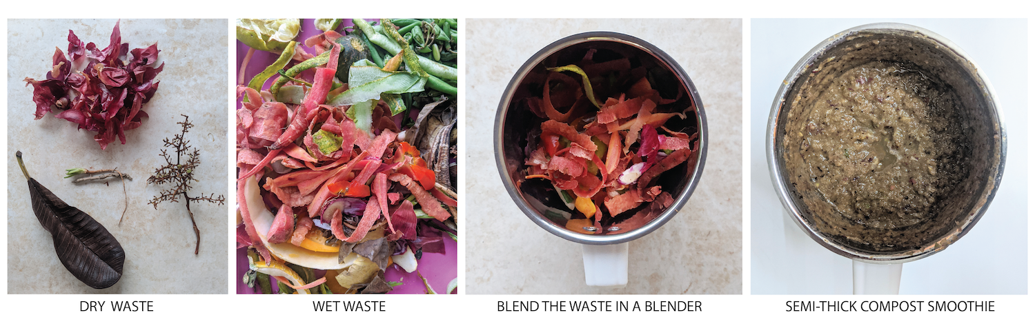 step by step to make compost smoothie