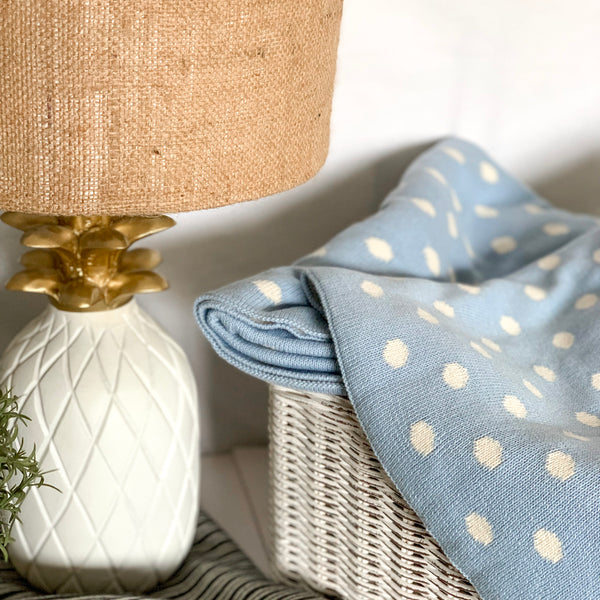 Dottie Knitted Throw Blanket - Pastel Blue Natural - Nestasia Home Decor