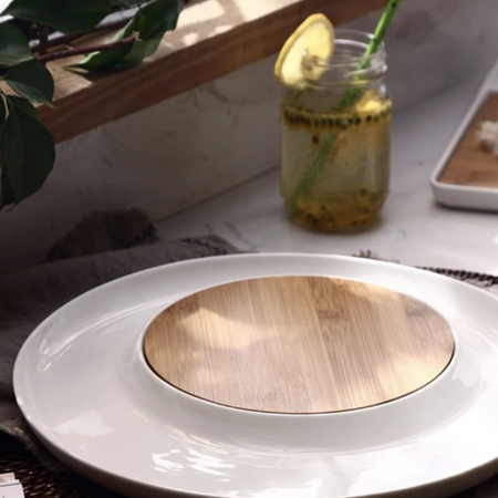 MAGNIFIQUE round wood and ceramic cheese plate board