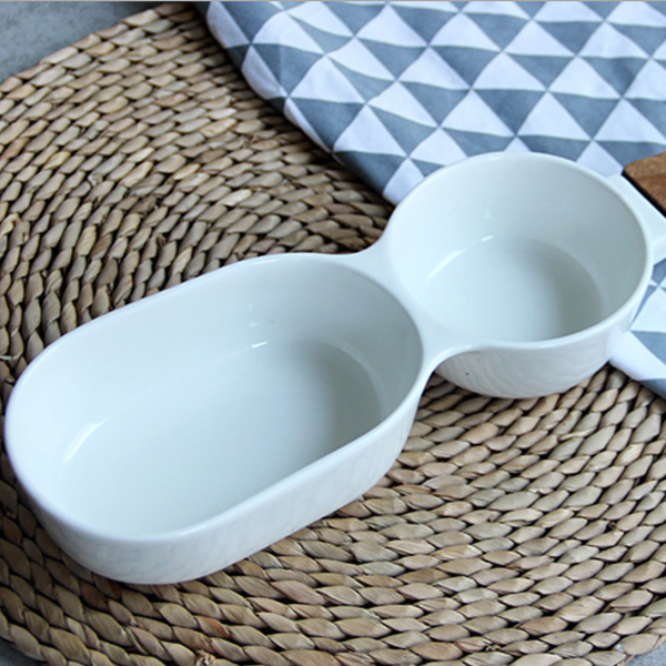 MERRY 2 part chip and dip bowl with wooden handle - white - Nestasia Home Decor