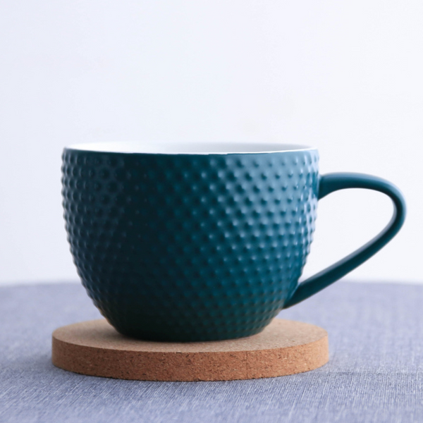 MAGNIFIQUE textured mug with cork coaster - midnight green - Nestasia Home Decor