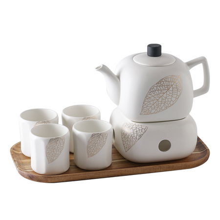 MAGNIFIQUE tea set - natural white and gold leaf