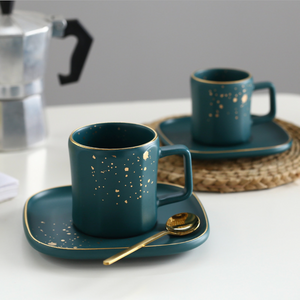 CARA Espresso cup & saucer - midnight green