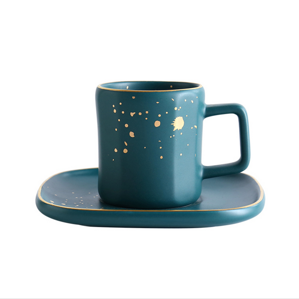CARA Espresso cup & saucer - midnight green - Nestasia Home Decor