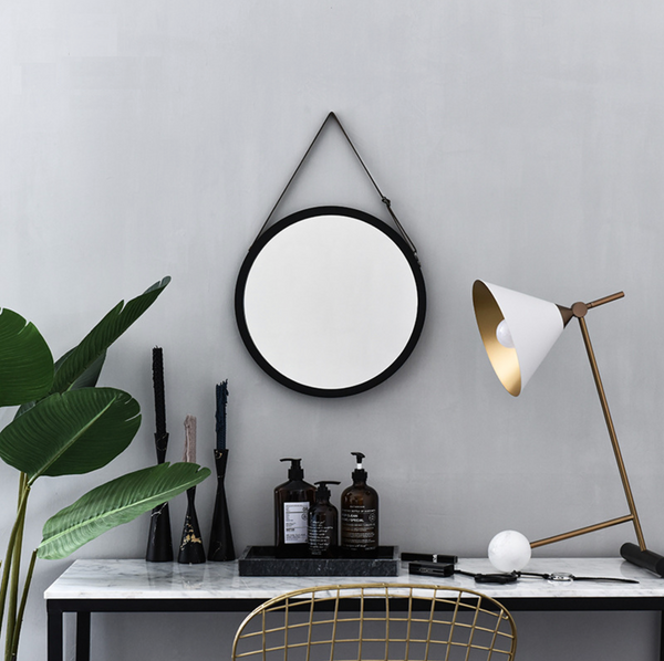 MERRY Cosmetic Hanging Mirror - Black - Nestasia Home Decor