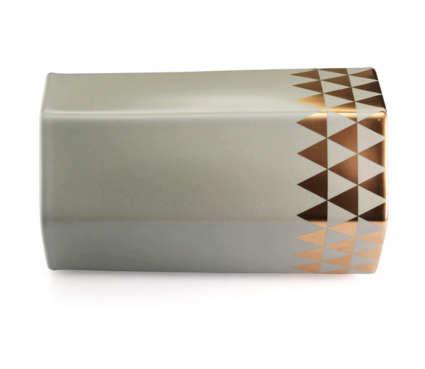 grey hexagon vase with triangle gold pattern