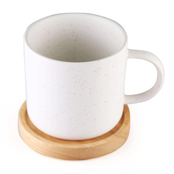 CHICERAMIC Ceramic Stone cup with wooden coaster- White - Nestasia Home Decor