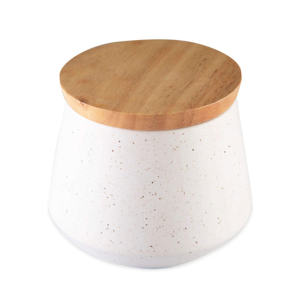 CHICERAMIC Ceramic  Stone Jar With wooden Lid-White - Nestasia Home Decor