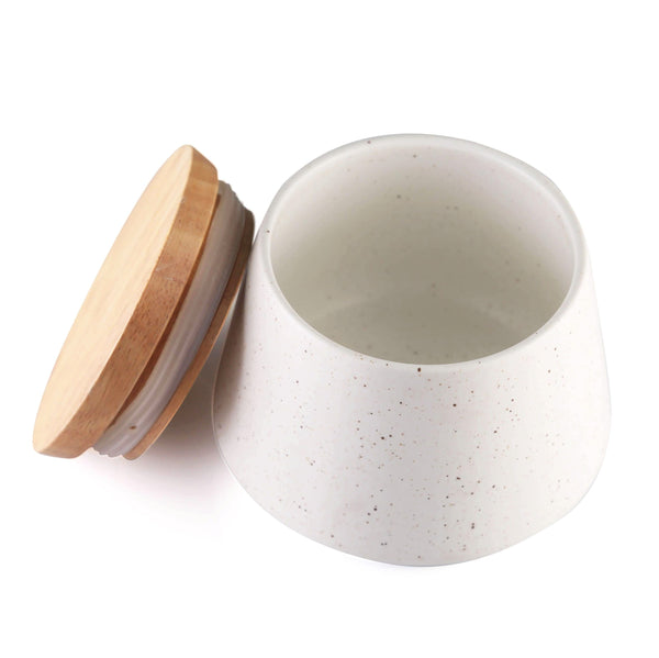 CHICERAMIC Ceramic  Stone Jar With wooden Lid-White