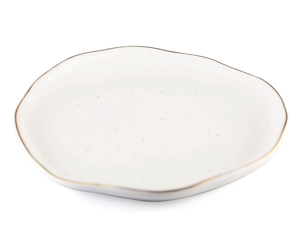 CHICERAMIC Asymmetric ceramic stone quarter plate-White & Gold