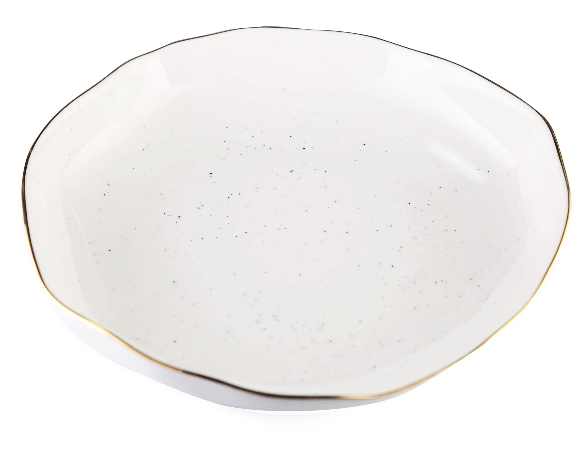 white stone effect with gold rim past dish