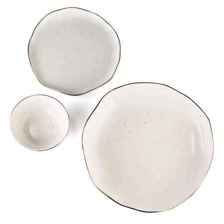 white and gold pasta bowl, quarter plate and small bowl single serve stone effect set