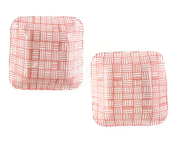 set of two ceramic small square patterned bowls red and white