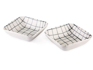 blue and white patterned small square sauce bowl set of 2