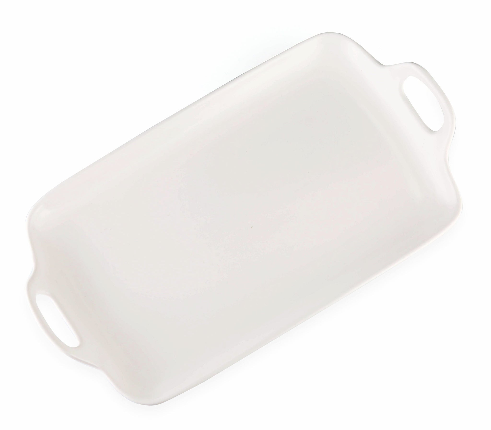 rectangle white ceramic tray with handle (platter)