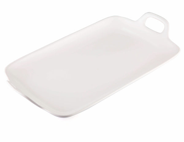 rectangle white ceramic tray with handle