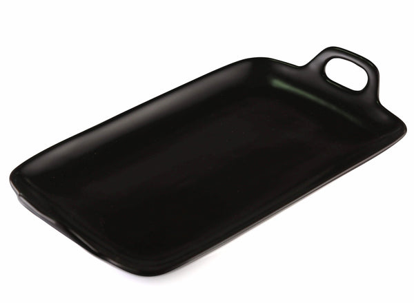 Black rectangle ceramic tray / platter with handle side view