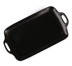 Black rectangle ceramic tray / platter with handle