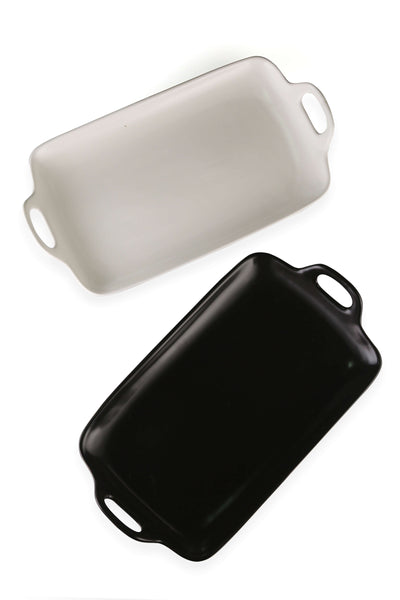Black and white rectangle ceramic trays / platters with handle