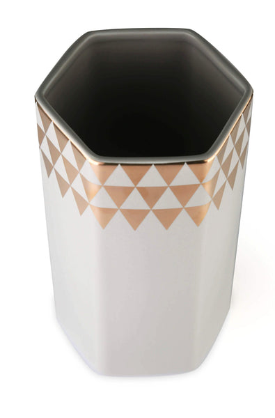 CHICERAMIC Ceramic Hexagon Vase- Grey & Gold - Nestasia Home Decor