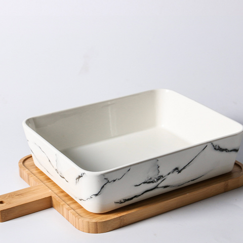 CHICERAMIC marble rectangle dish with bamboo board