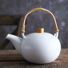 MAGNIFIQUE textured tea pot - white - Nestasia Home Decor