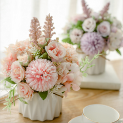 Pink Artificial Flowers in Vase