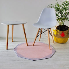 POLYGON round rug (L) - Old Rose Pink - Nestasia Home Decor