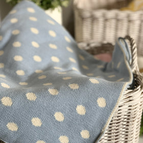 Dottie Knitted Throw Blanket - Pastel Blue Natural