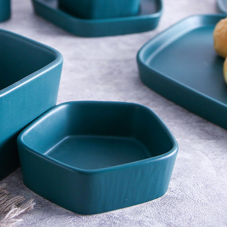 GEOMTERIC pentagon snack bowl - midnight green