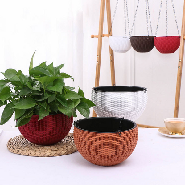 FLORA Fibre Hanging Planter - White - Nestasia Home Decor