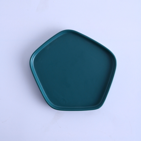 GEOMTERIC pentagon snack plate - midnight green