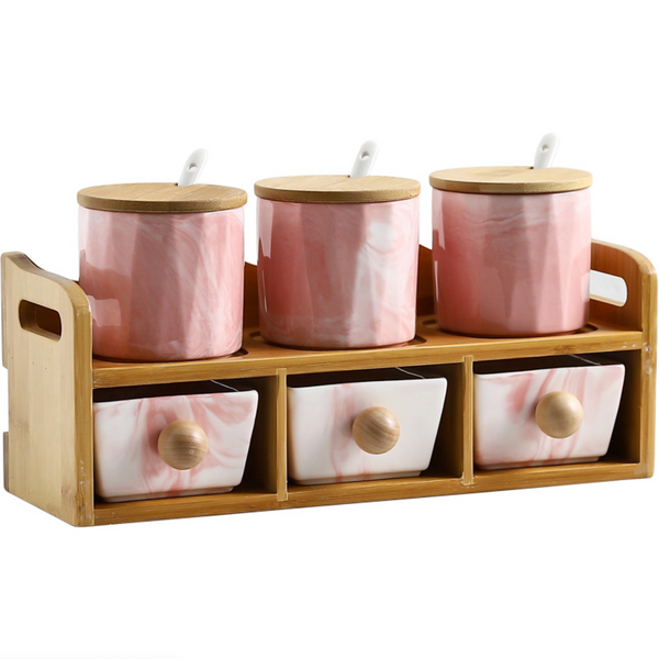 CHICERAMIC Marble Spice Box with Drawers - Pink - Nestasia Home Decor
