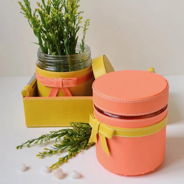 GLAM Jars and Tray Set - Yellow and Peach - Nestasia Home Decor