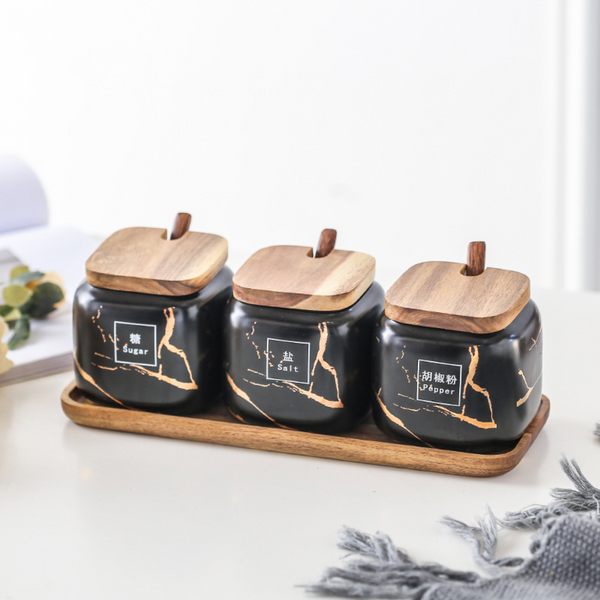 CARA Spice Jars set - soul black - Nestasia Home Decor