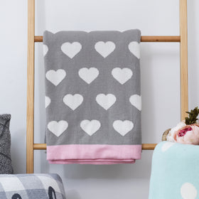 Heart Knitted Throw Blanket - Light Grey Light Pink Natural