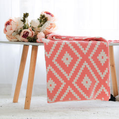 Homey Knitted Throw Blanket - French Pink Peach Natural