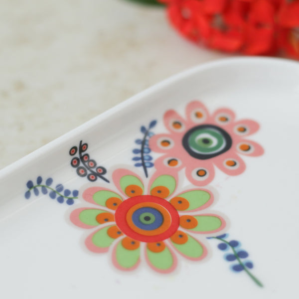 Rectangle Floral Plate with Handle