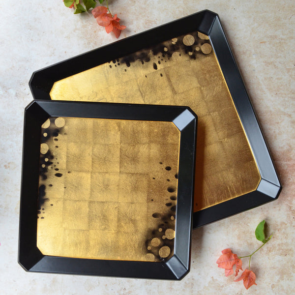 Antique Gold & Black Lacquer Tray Set