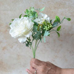 Artificial Flower Bouquet Off White