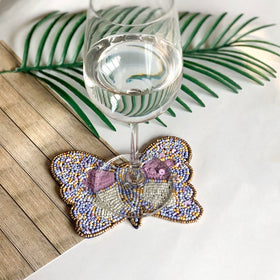 BEADS Butterfly Coaster - Lavender White (Set of 2)